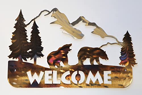Bear Metal Welcome Sign