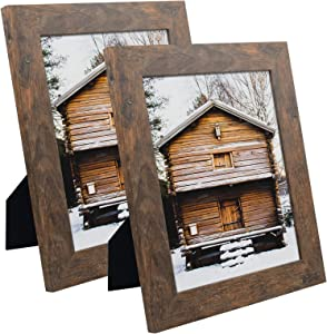 Frametory, Set of 2-8x10 Photo Frame - Brown Grain Color, Wide Moulding Design - Wall Hanger, Back Turn Buttons, Easel Stand - Wall Display or Tabletop Display
