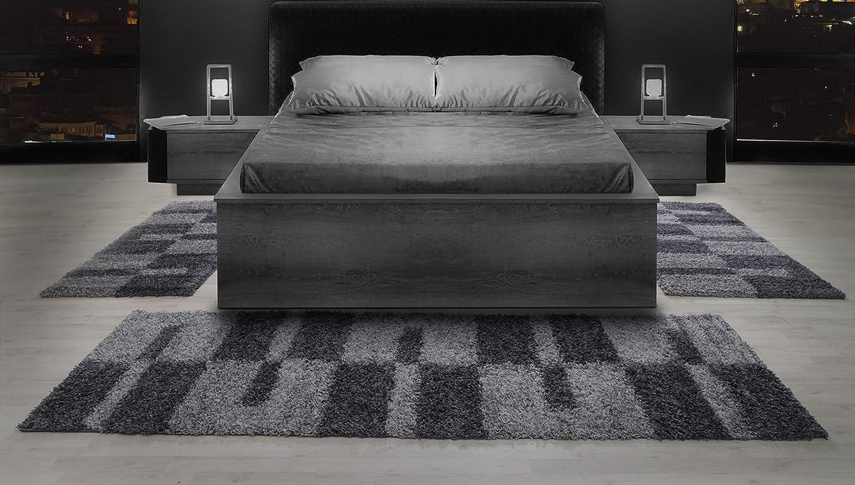 Carpetsale24 Alfombra Camilla Bordure Shaggy Alfombra, Color:Gris, Größenauswahl:2 x 80x150 + 1 x 80x250
