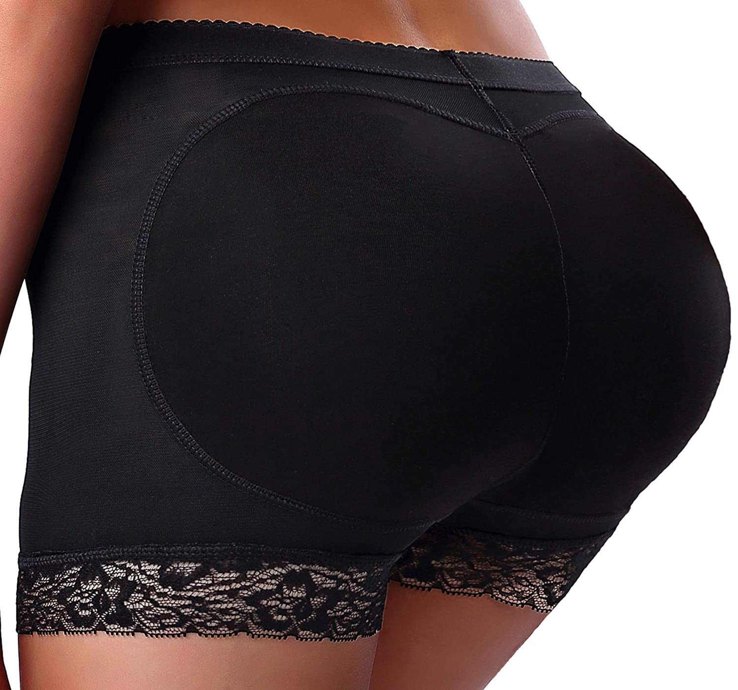CeesyJuly Womens Lace Padded Butt Lifter Boy Shorts Hip Enhancer Shaper Panties