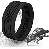 UROKAZ Silicone Wedding Ring Women Men - Men's Rubber Wedding Ring - Thin Woman Silicone Wedding Band - Male Female Band Colors Include Black, red, Rose Pink More - Size are from 4 to 16