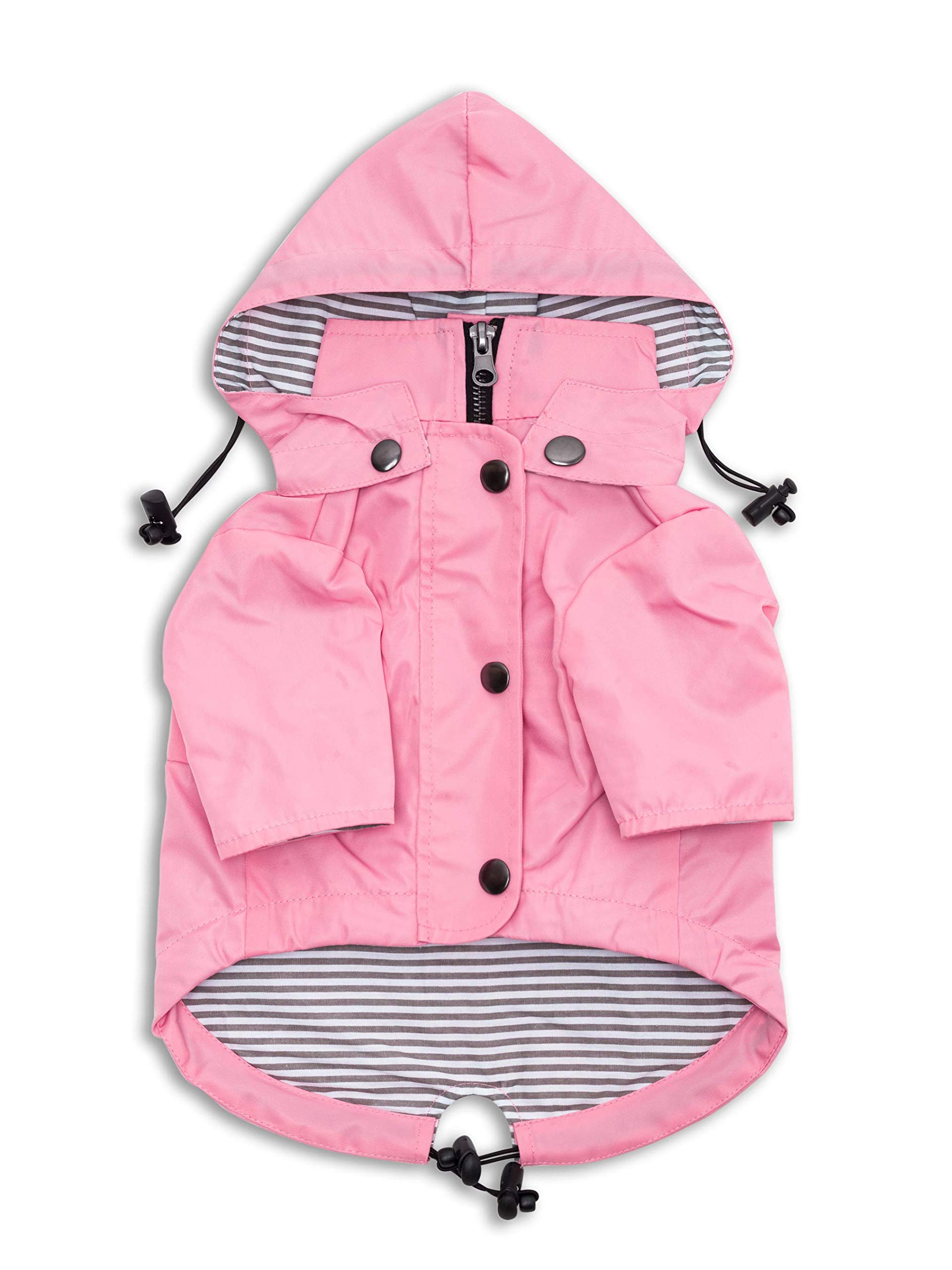 Ellie Dog Wear Zip Up Dog Raincoat Pink with Reflective Buttons, Pockets, Water Resistant, Adjustable Drawstring, Removable Hoodie - Size XS to XXL Available - Stylish Premium Dog Raincoats (L) by Ellie Dog Wear