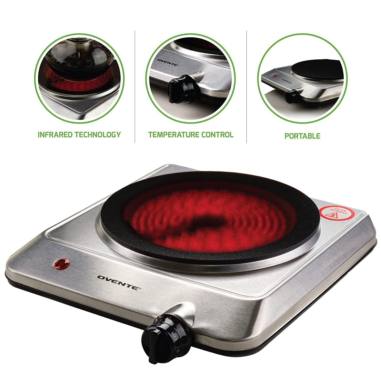 Ovente Countertop Burner, Infrared Ceramic Glass Single Plate Cooktop, Indoor and Outdoor Portable Stove, 1000 Watts (BGI101S)