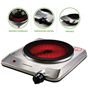 "Ovente Electric Infrared Burner, Single-Plate 7.5"" (1000W) Ceramic Glass Cooktop, Silver (BGI201S)"