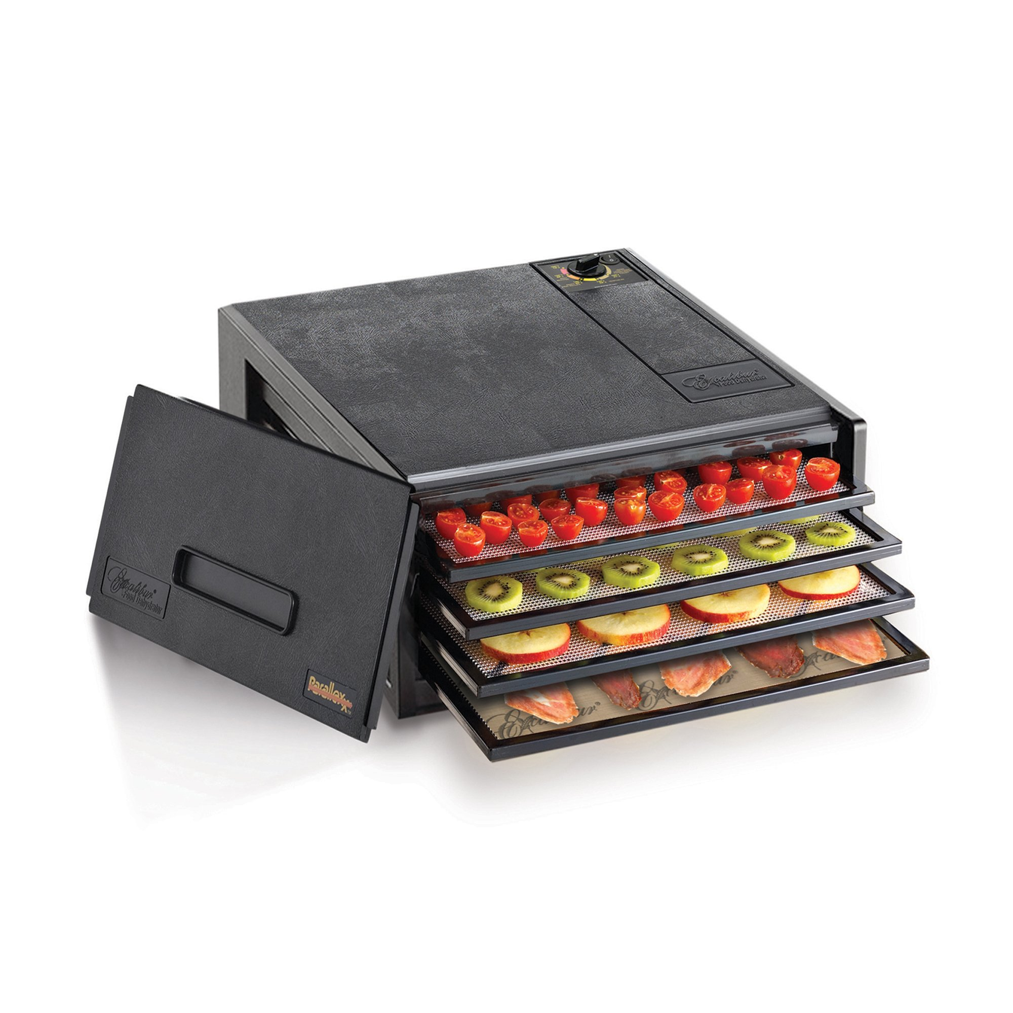 Excalibur 2400 4-Tray Electric Food Dehydrator with Adjustable Thermostat Accurate Temperature Control Faster and Efficient Drying Includes Guide to Dehydration Made in USA, 4-Tray, Black