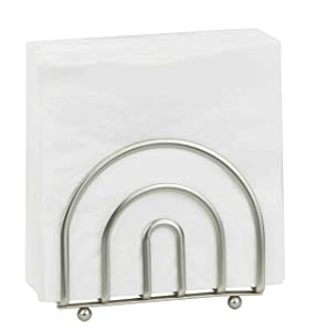 Home Basics Paper Freestanding Tissue Dispenser for Kitchen Countertops, Dining, Picnic Table, Indoor & Outdoor Use, Durable Storage Satin Nickel Collection Napkin Holder [Misc.]