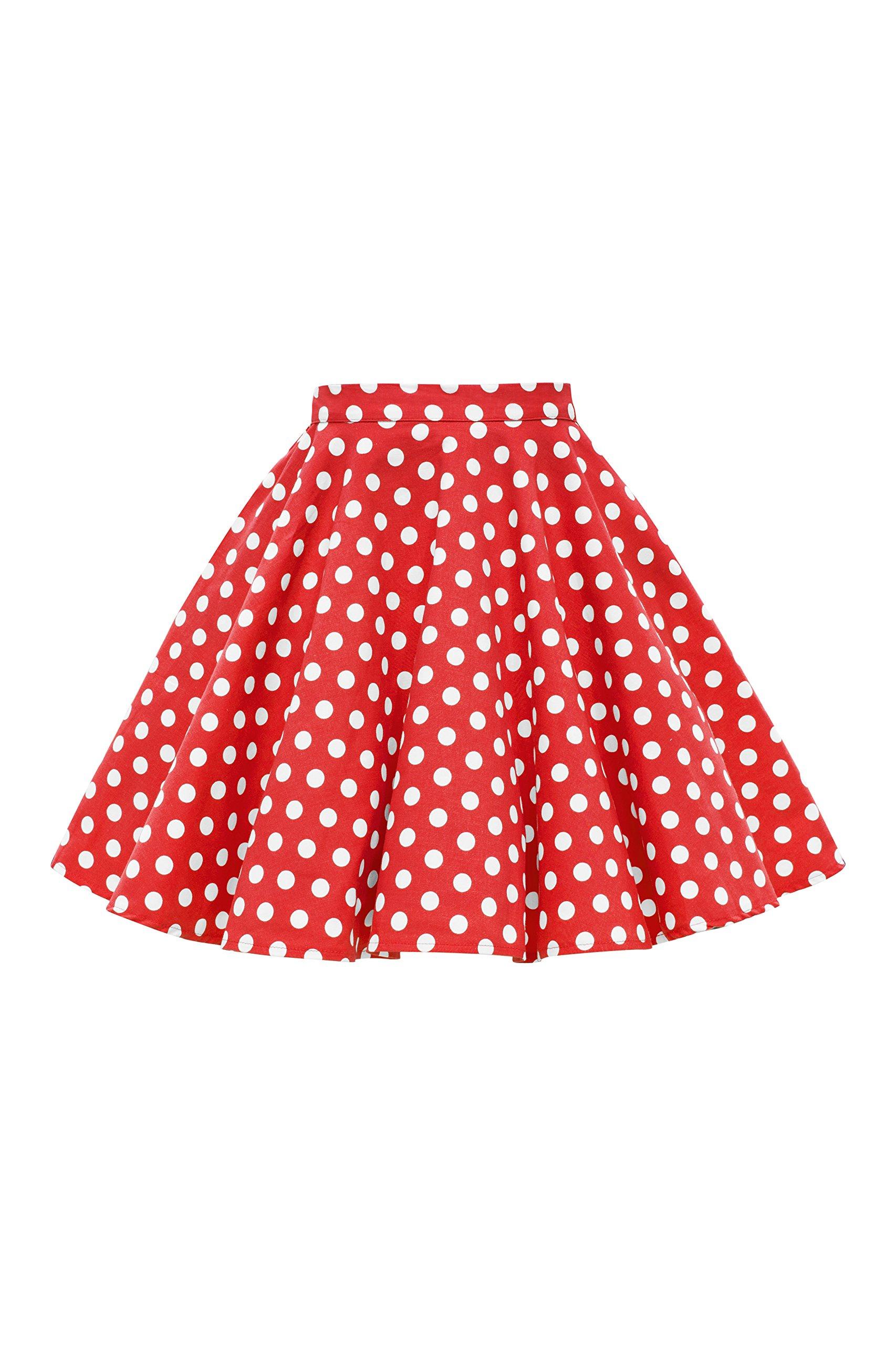BlackButterfly Kids Vintage 50's Full Circle Girls Swing Skirt (Polka Dot - Red, 9-10 yrs)