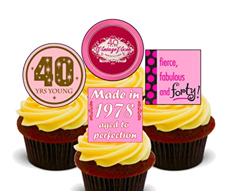 40th Birthday Female Funny Edible Cupcake Toppers Standup Wafer