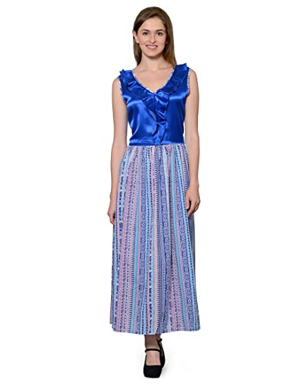 57896492ed Patrorna Handloom Fabric Women s Blouseon Nighty Night Dress in Blue (Size  M