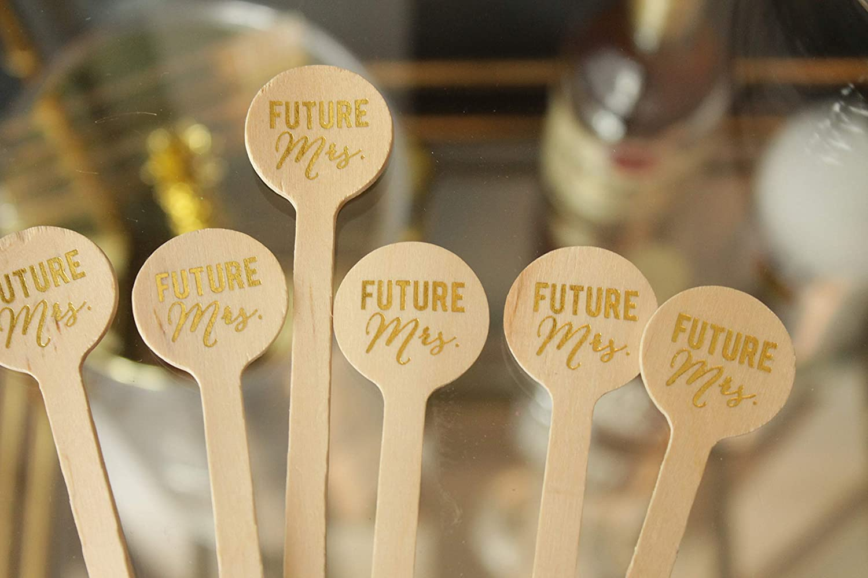 Future Mrs GOLD FOIL Wooden Drink Stirrers