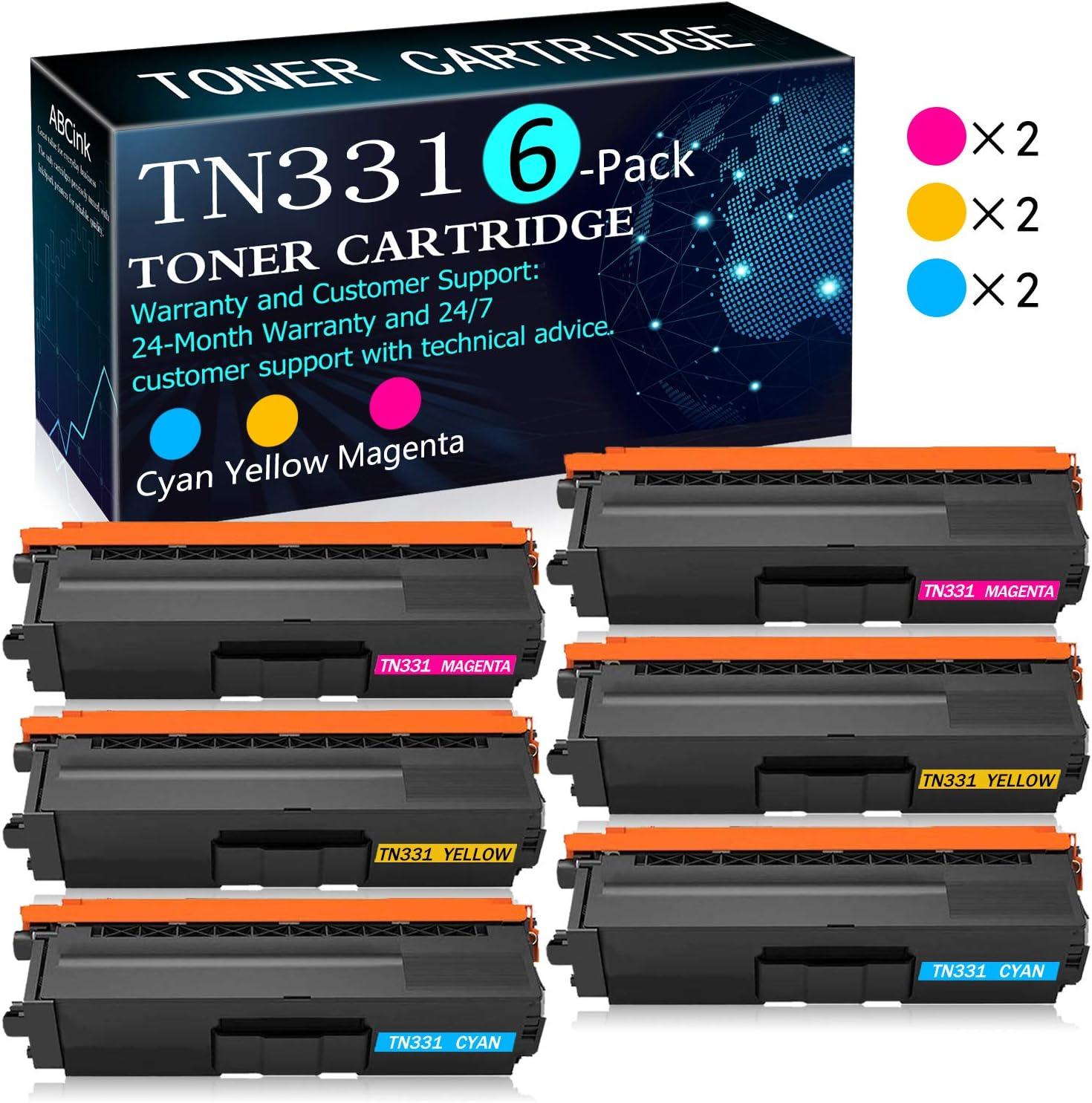 TN331 Toner Cartridge Replacement for Brother HL-L8250CDN L8350CDW L9200CDW MFC-8600CDW L9550CDW L8850CDW DCP-9050CDN L8400CDN Printers Toner Cartridge 6 Pack 2C+2Y+2M