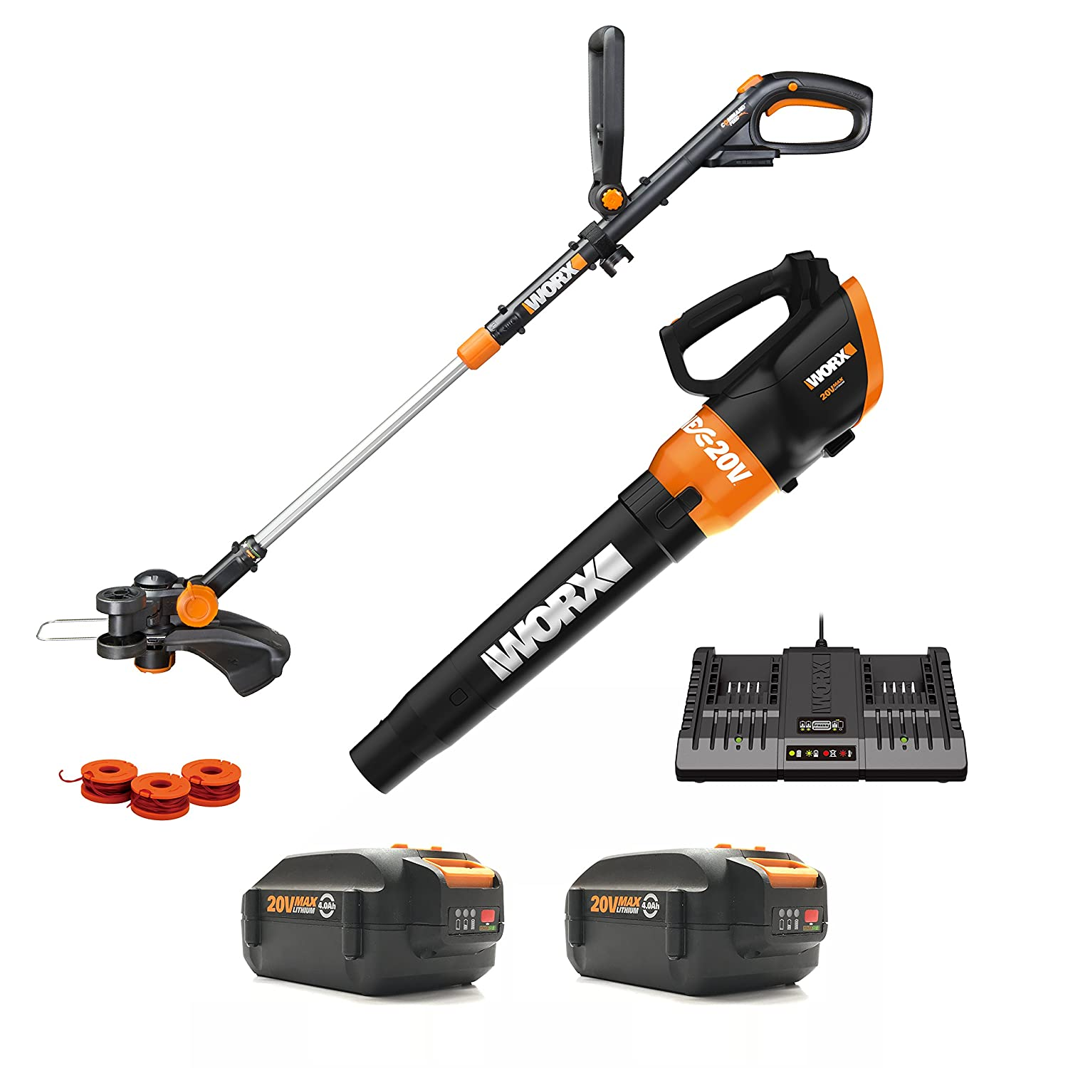 Worx WG954.1 20V Revolution Grass Trimmer Edger and Turbine Blower Combo Kit with two 20V 4.0Ah Batteries, Charger