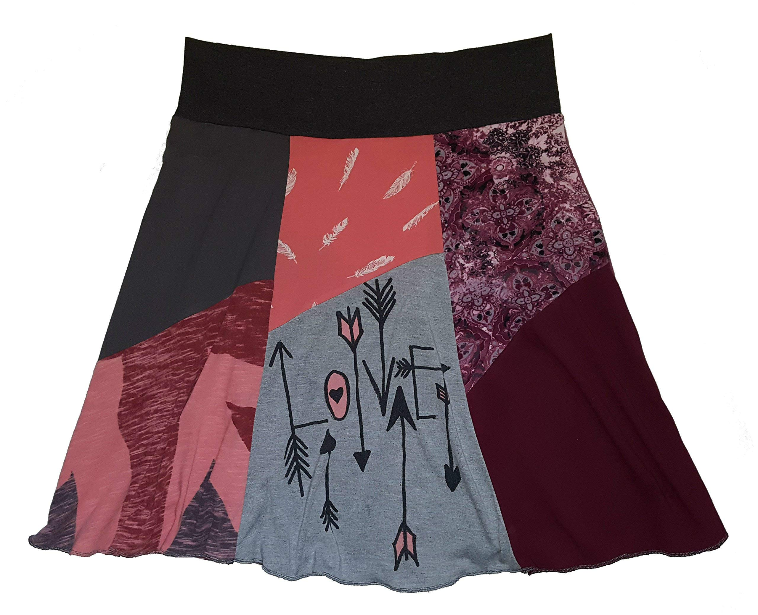 Cute Love Skirt for Women Large XL Upcycled One of a Kind T-Shirt Skirt