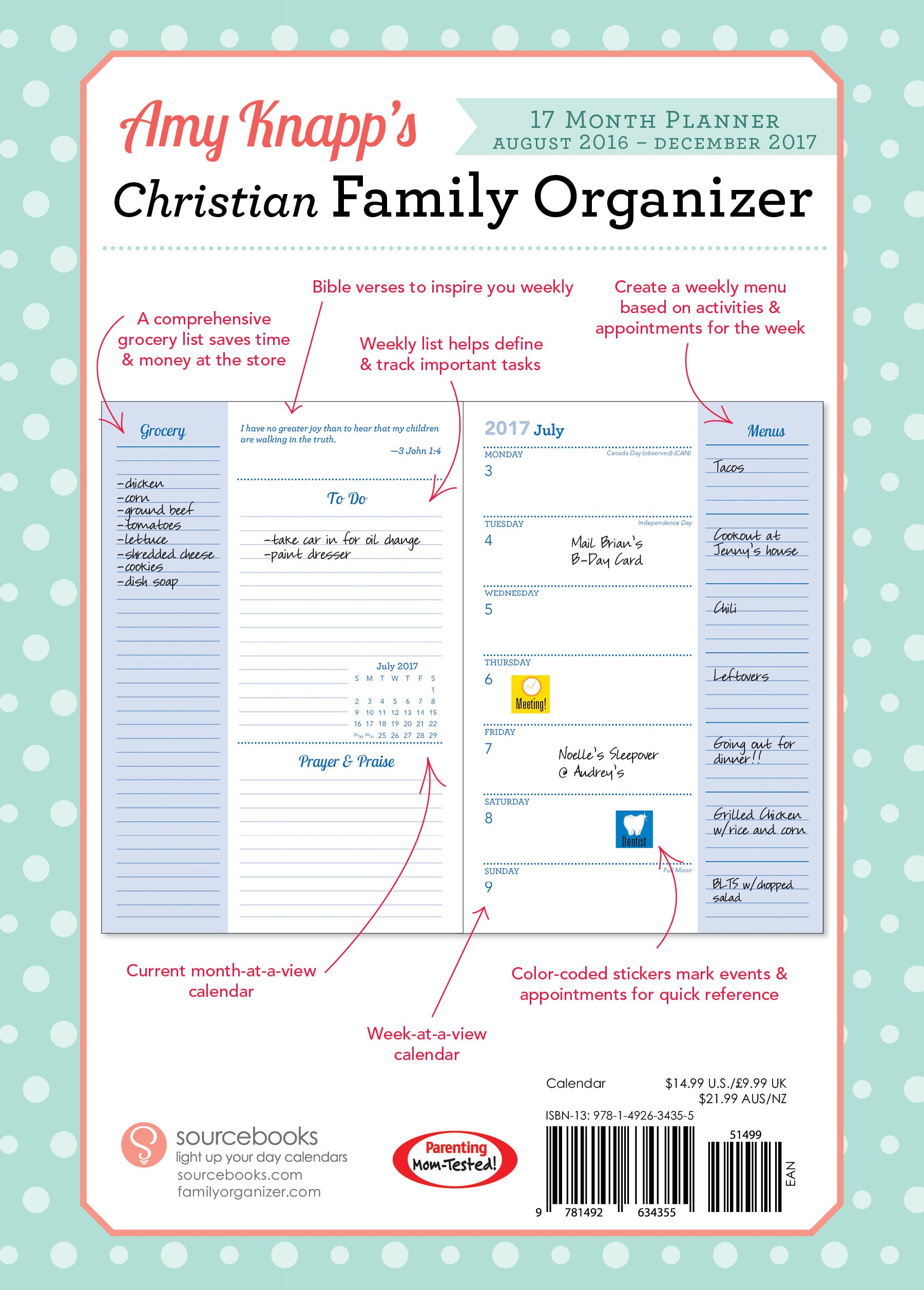 2017 amy knapp christian family organizer august 2016 december 2017 amy knapp 0760789258336 amazoncom books
