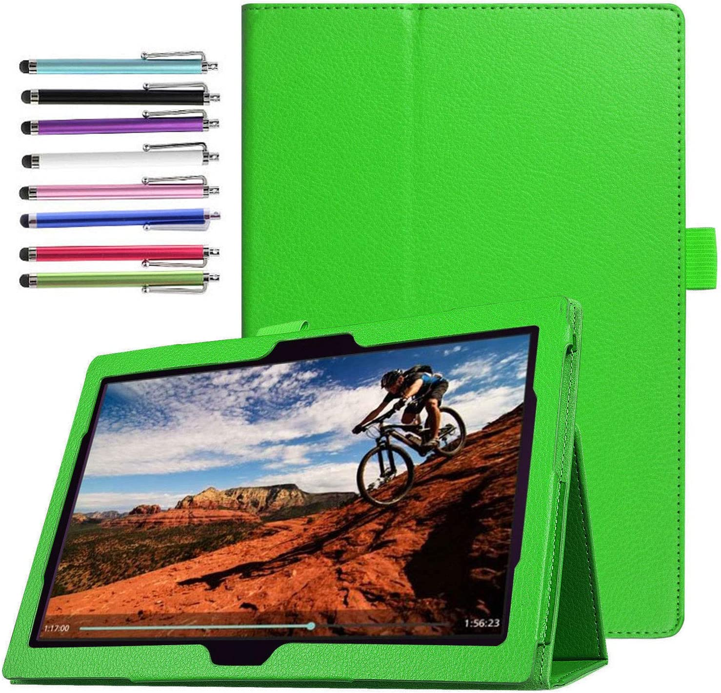 Epicgadget Case for Lenovo Tab E10 (TB-X104F), Slim Lightweight Folio PU Leather Folding Stand Cover Case for Lenovo Tablet 2018 Tab E 10 10.1 Inch Display (Green)