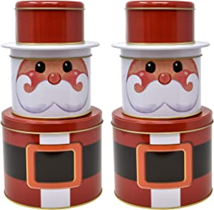 Gift Boutique Christmas Santa Cookie Tins Round Nesting Boxes with Metal Lid Cover Set of 2 for Holiday Treats Chocolate Candies Cookies Containers Decorative Wrapping Party Favor Supplies