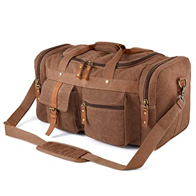 Plambag Oversized Canvas Duffel Bag Overnight Travel Tote Weekend Bag(Coffee ) 895e97a758b8d