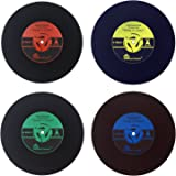 Txian Retro Vinyl Record Cup Mat Chic Floppy Coaster Classic Music Style Place Mat Pack Of 4