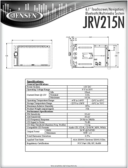 Jensen 31300152 Pigtail Harness Used for Jensen CD Player Touchscreen Multimedia System JRV215N and Others