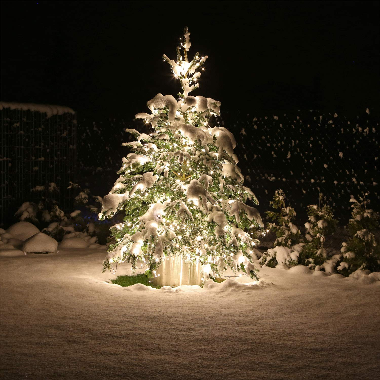 große 40 Meter LED Lichterkette mit 400 LEDs kaltweiss für aussen Weihnachtsbaum