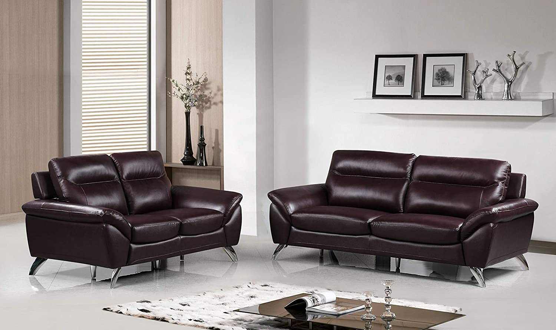 Amazon.com: Cortesi Home Contemporary Madison Genuine Leather Sofa