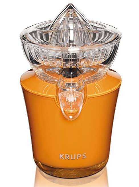 KRUPS ZX720K Electric Acrylic Citrus Juicer with Automatic Fruit Pressure Detection, Orange