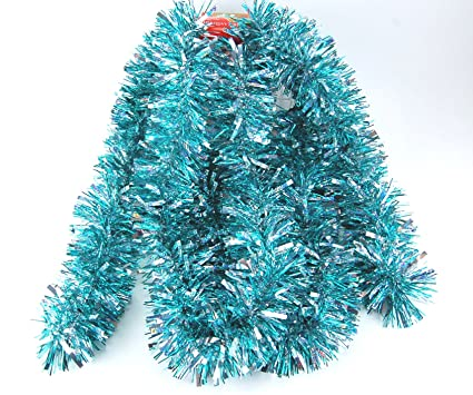 Christmas Tinsel Garland.Fix Find Elegant Hanging Holiday Tinsel Garland 3 Inches Thick X 10 Feet Aqua Holo Silver