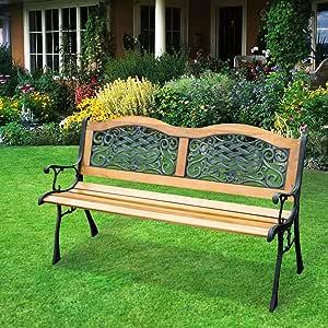 Amazon.com: Outdoor Patio Garden Hardwood Slats Bench