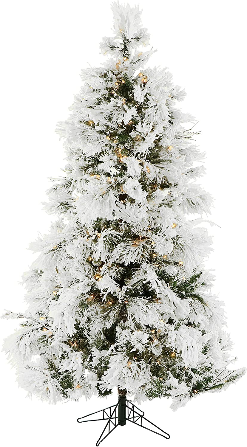 Fraser Hill Farm Ffsn075 5sn Flocked Snowy Pine Artificial Clear Led Lighting 7 5 Christmas Tree Ft Snow Home Kitchen Amazon Com