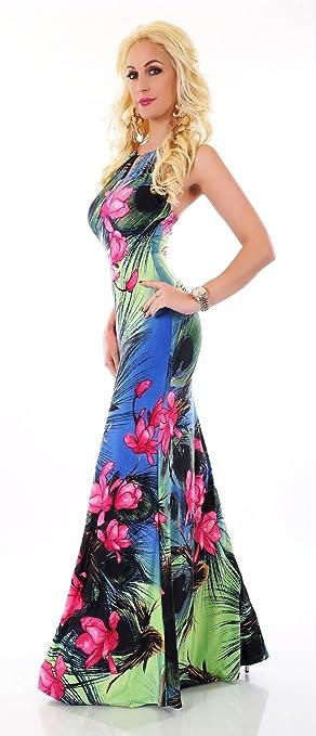 83efca2a033f Blanco Store - Vestito Lungo Donna Abito A Fiori Elegante Cerimonia Inserti  Color Oro (M L