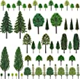 """Nilos 55pcs Mixed Model Trees, 1""""-6.7""""(23mm-170mm), Model Train Scenery,  Trees for Projects, Woodland Scenics with No Bases, Tree Train Scenery Architecture Trees  Trees for DIY Crafts"""