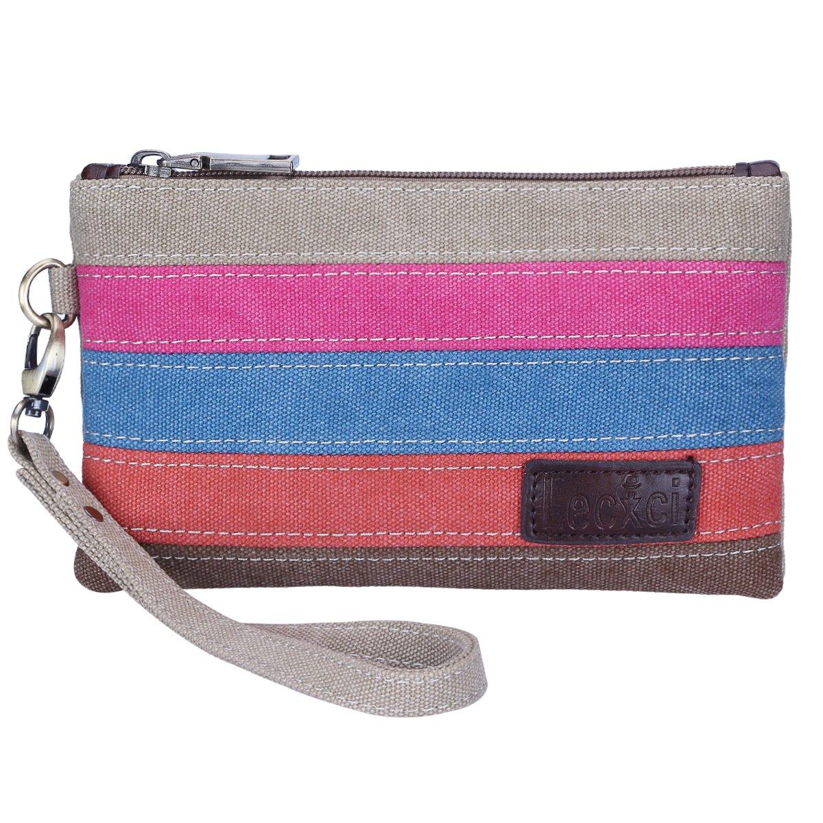 Lecxci Women's Canvas Smartphone Wristlets Bag, Clutch Wallets Purses for iPhone 6S/7 Plus/8 Plus/X (Color-strap)