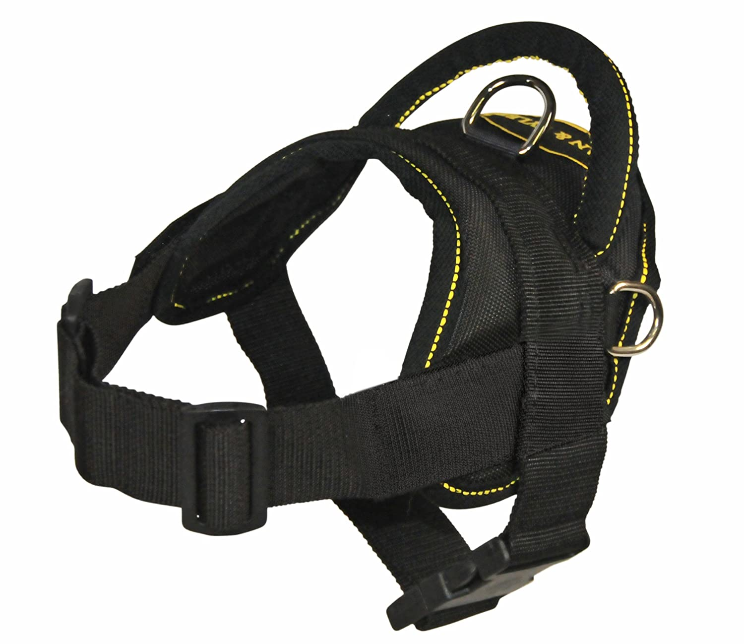 XS Dean & Tyler DT Dog Harness with Trim, XS, Black  Yellow