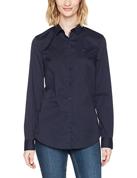 Tommy Jeans Hilfiger Denim Tjw Basic Stretch Shirt L/s 1, Blusa para Mujer, Azul (Navy Blazer 416), XX-Small