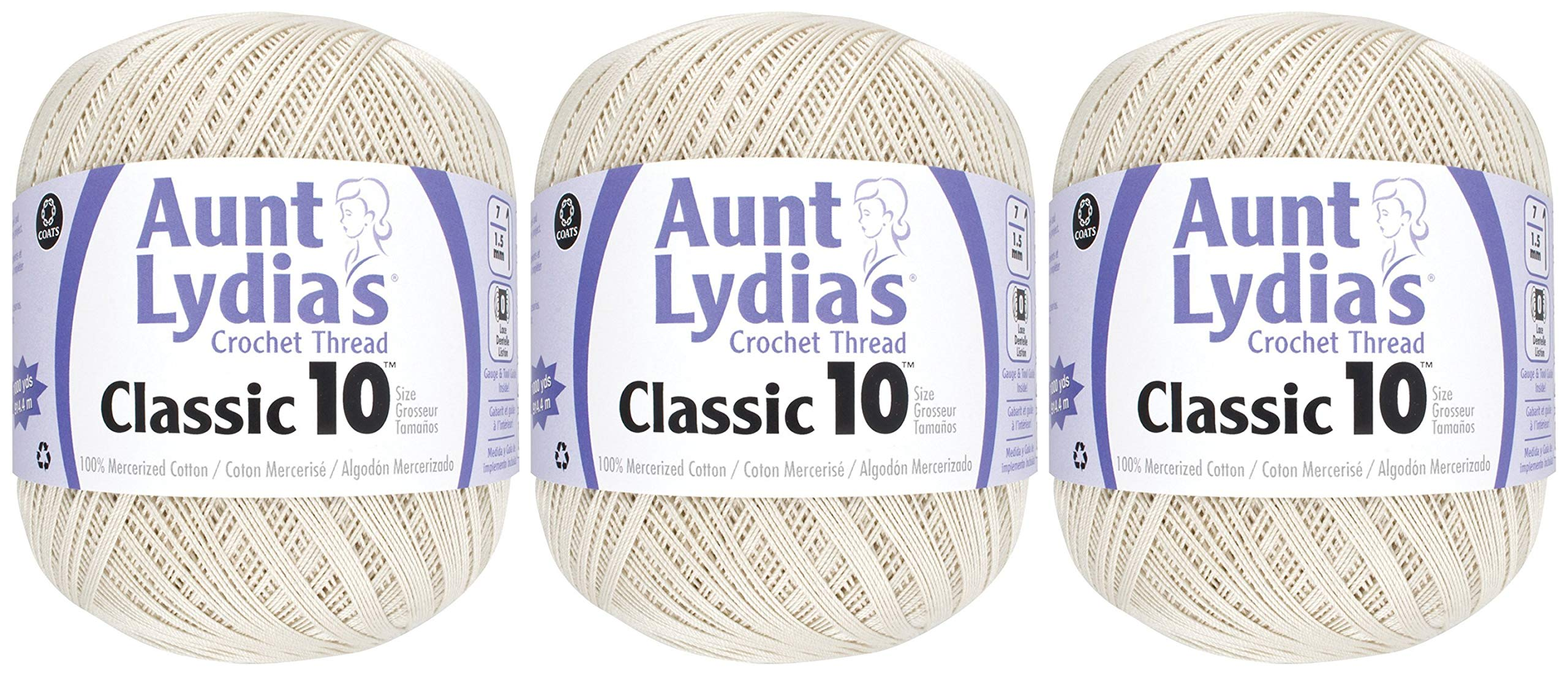 3-Pack - Aunt Lydia's Classic Crochet Thread - Natural - Size 10 Value Pack - 1000 Yards Each