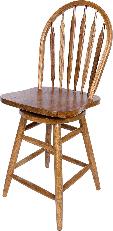 AW Furniture Solid Oak Windsor Back Swivel Bar Stool 24 Inches High