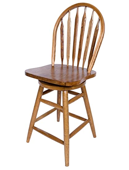 Amazoncom Solid Oak Windsor Back Swivel Bar Stool 30 Inches High