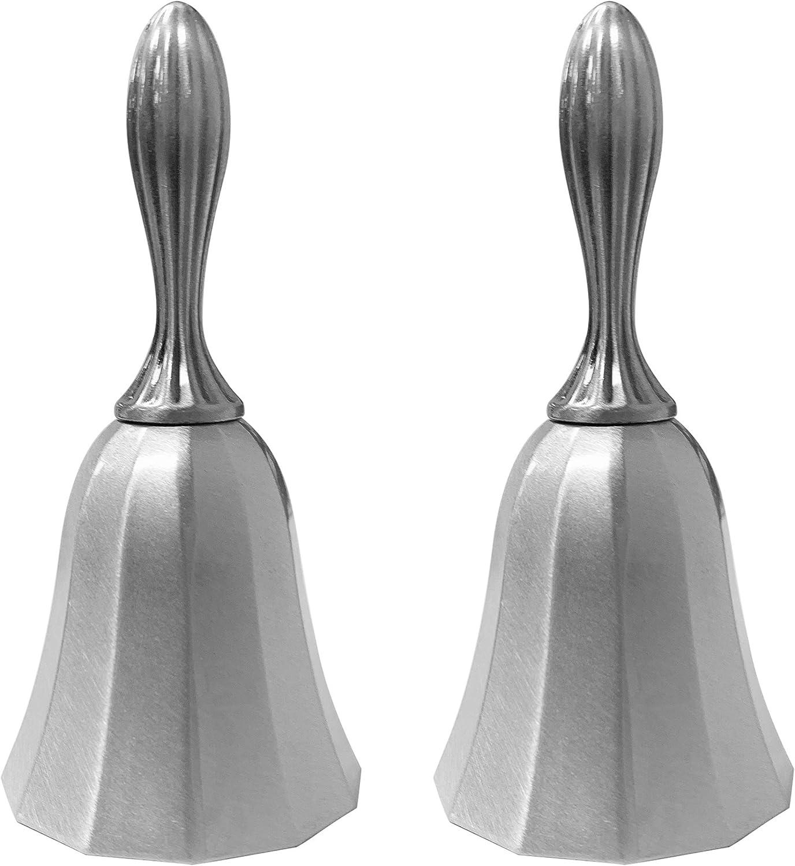 Adorox Set of 2 Call Bell Wedding Bell Dinner Bell Golden Temple Bell Classroom Bell (2pc, Matte Sliver)