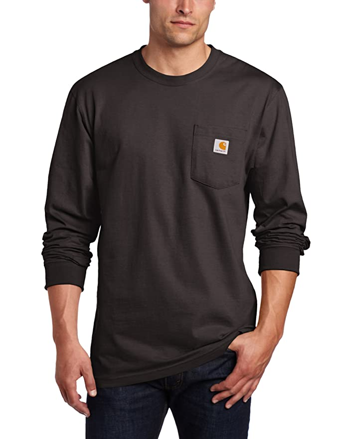 Carhartt Men's Workwear Pocket Long Sleeve T-Shirt Midweight Jersey Original Fit K126,Black,X-Large