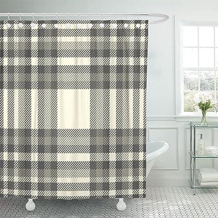 Amazon TOMPOP Shower Curtain Tartan Plaid Pattern Traditional