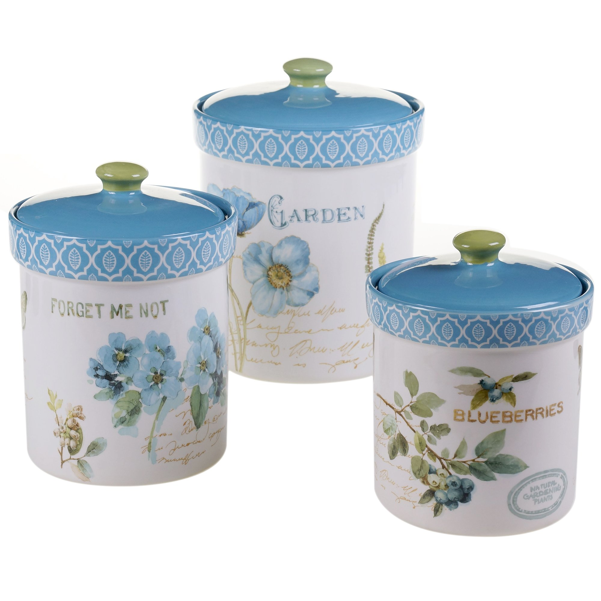 Certified International 3 Piece The Greenhouse Canister Set, Multicolor