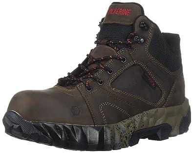 c3dd01bdd5b Wolverine Men's Gravity Mid Composite Toe Waterproof Work Boot, Brown, 9.5  W US