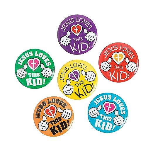 Amazon com: Fun Express - Jesus Loves This Kid Mini Buttons