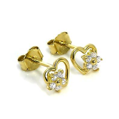 128c6231d 9ct Gold Open Heart & CZ Crystal Flower Stud Earrings: Amazon.co.uk:  Jewellery
