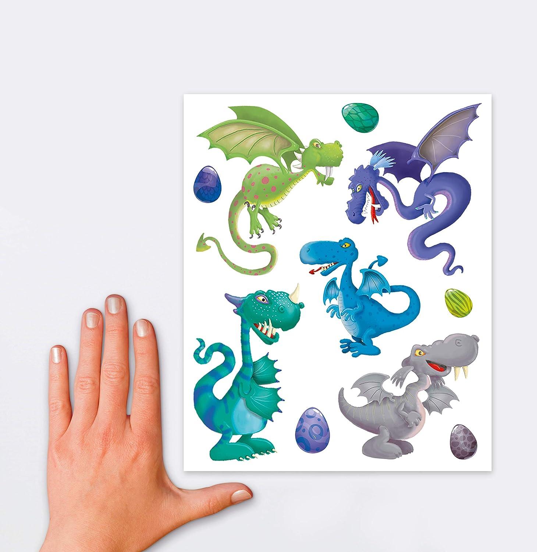 motivo drago multicolore AVERY Zweckform 54992 Set di 9 adesivi per finestre
