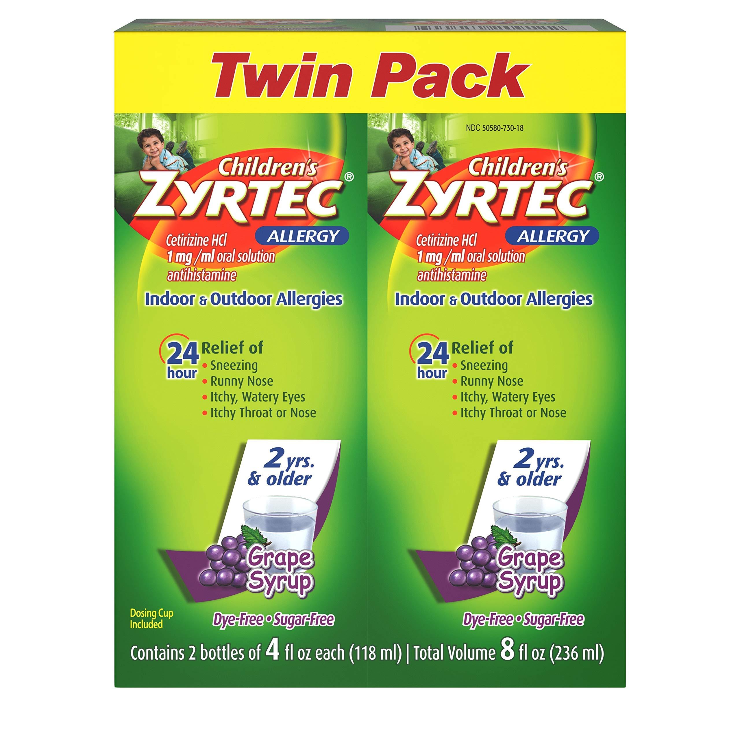 Children's Zyrtec 24 Hr Children's Allergy Syrup with Cetirizine, Sugar-Free Grape, Twin Pack of 4 Fl. Oz, 8 fl. oz. by Zyrtec