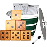 Jungle Gym Kingdom Yardzee & Yard Farkle Giant Wooden 6 Dice Set for Outdoor Fun Lawn Games Picnic Barbeque Party Tailgaiting & Special Events with Collapsible Bucket & Lid Scorecards & Markers