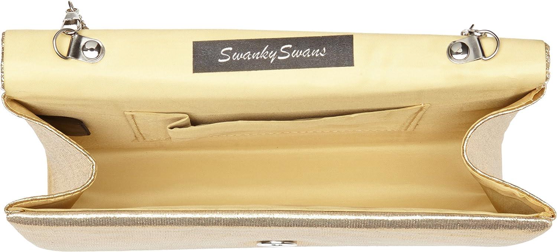 SwankySwans Femme Kelly Paillettes enveloppe Pochette de soir/ée f/ête Bal Sac dembrayage