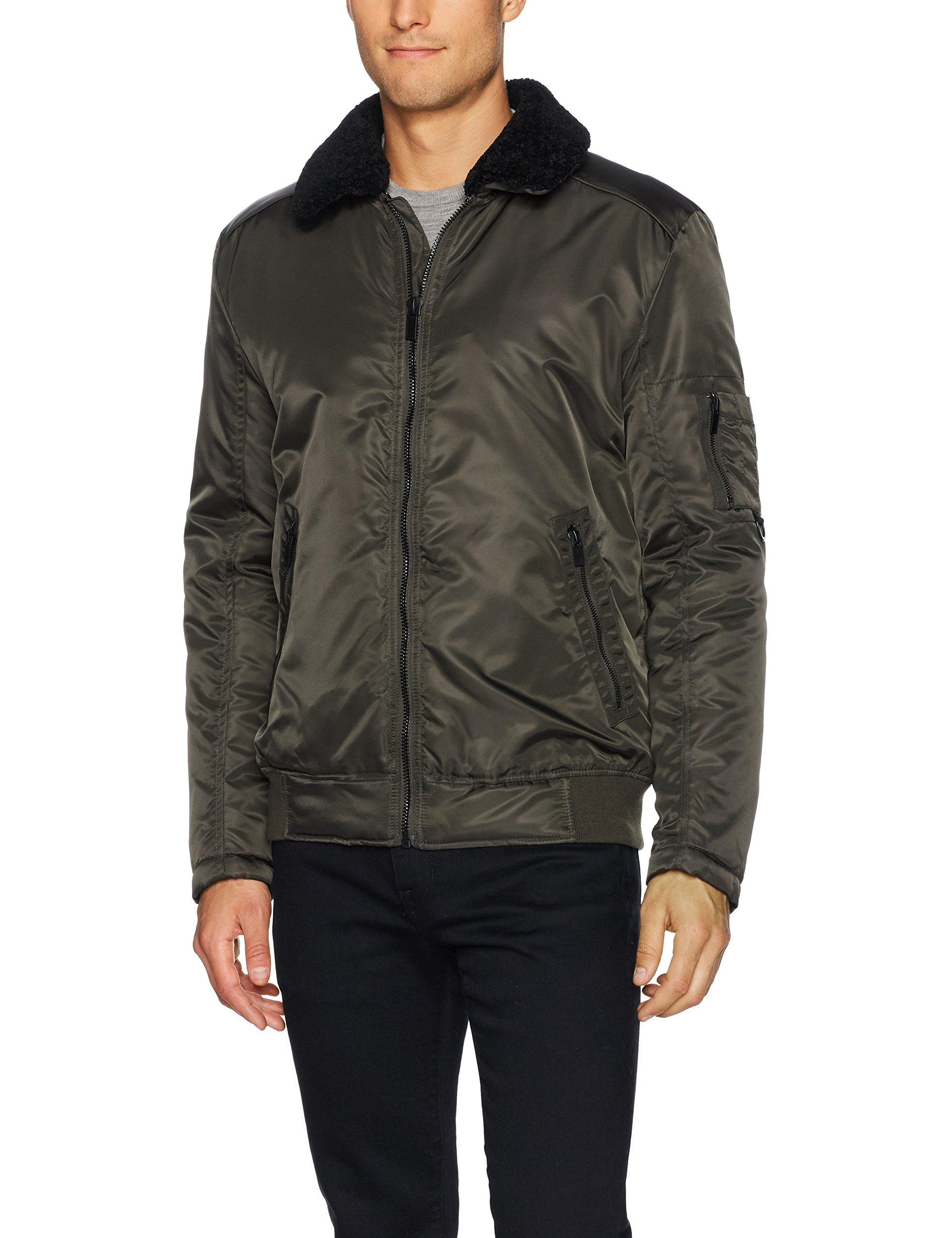 Kenneth Cole New York Men's Aviator Jacket with Removable Faux Sherpa Collar, Olive, Large by Kenneth Cole New York