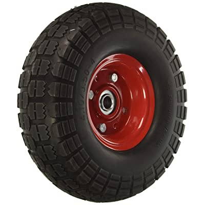 "10"" Flat Free Hand Truck Tire and Wheel with 5/8"" Center Shaft Hole: Office Products"